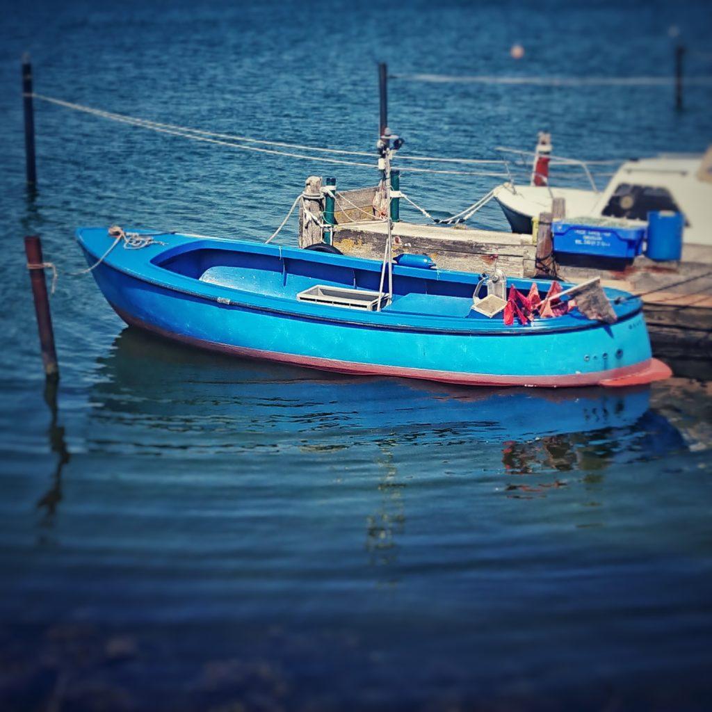 Buon Ferragosto! Oder warum wir im August eine Woche Betriebsferien machen. Das Bild zeigt ein kleines blaues Fischerboot auf sehr blauem Wasser: Was wir nur hier verraten: das Foto wurde nicht im Süden, sondern an der Schlei-Mündung aufgenommen.